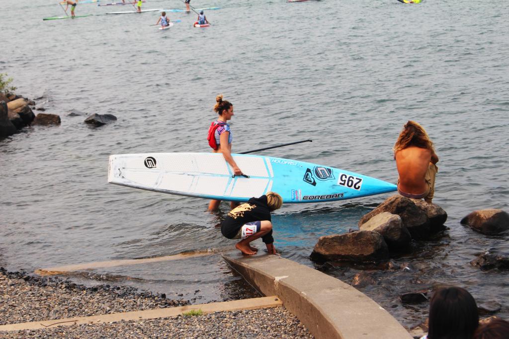 Tarryn heading out on her Coreban prototype race board. Hood River downwind style!