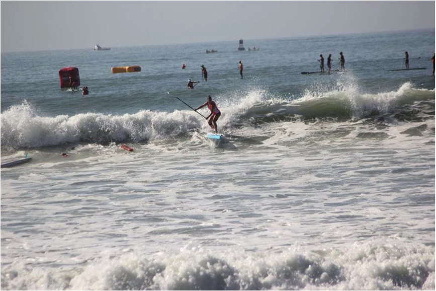 Coming in to the finish in style. Being a surfer definitely helps when it comes to this format of racing!